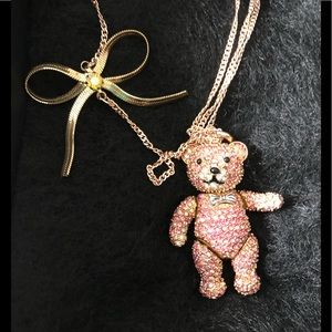 NWT Betsey Johnson Teddy Bear Necklace